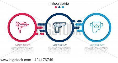Set Line Uzi Submachine Gun, Pistol Or And Gun Holster. Business Infographic Template. Vector
