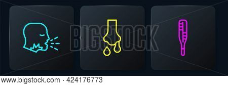 Set Line Man Coughing, Medical Thermometer And Runny Nose. Black Square Button. Vector