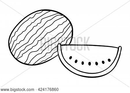 Cartoon Vector Illustration Of Whole Watermelon And Watermelon Slice. Black Outlined And White Color