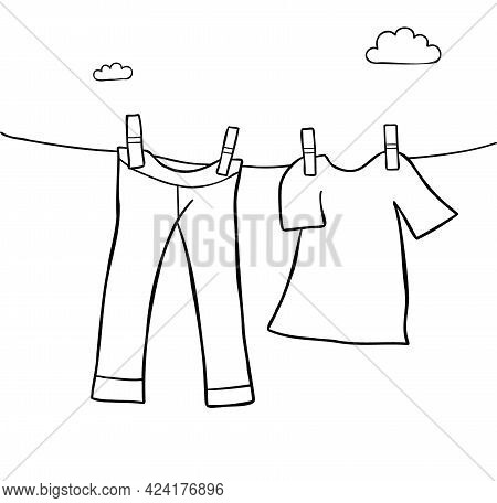 Cartoon Vector Illustration Of Hang Laundry Jeans And T-shirt. Black Outlined And White Colored.