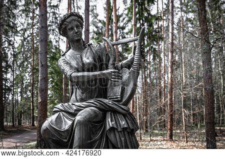 Monument To Muse Terpsichore Holding A Lyre. Pavlovsk, Russia. Fyodor Gordeyev, 1787.
