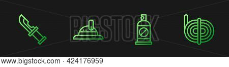 Set Line Spray Against Insects, Hunter Knife, Hat And Climber Rope. Gradient Color Icons. Vector