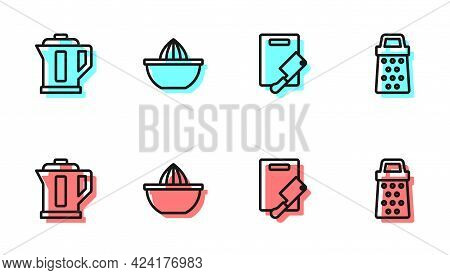 Set Line Cutting Board And Meat Chopper, Electric Kettle, Citrus Fruit Juicer And Grater Icon. Vecto