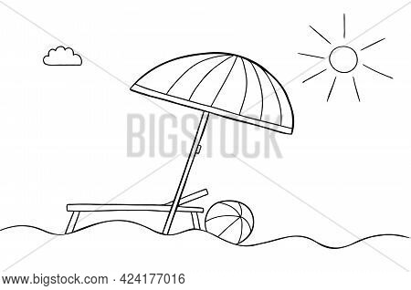 Cartoon Vector Illustration Of Beach Umbrella, Beach, Sunny Weather, Sunbed And Sea Ball. Black Outl