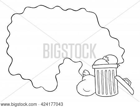 Cartoon Vector Illustration Of Garbage Bin On The Street And The Disgusting Smell Of Garbage. Black