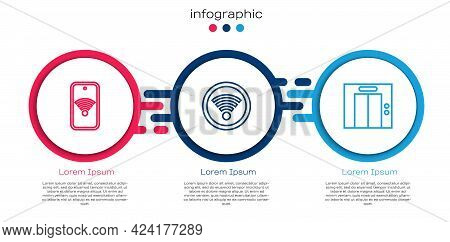 Set Line Mobile With Wi-fi Wireless, Wi-fi And Lift. Business Infographic Template. Vector