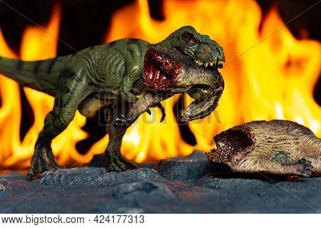 Tyrannosaurus And Tenontosaurus Body In Front Of Fire