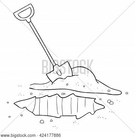 Cartoon Vector Illustration Of Shovel And Dig Soil. Black Outlined And White Colored.
