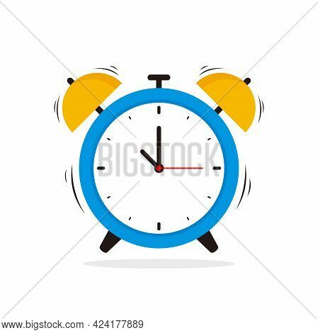 Simple Alarm Clock Illustration Vector Design, Flat Blue Yellow Alarm Clock On White Background