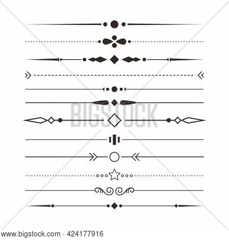 Set Of Various Simple Black Divider Design, Assorted Divider Collection Template Vector