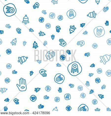Set Line Hamsa Hand, Comet Falling Down Fast And Ringing Alarm Bell On Seamless Pattern. Vector