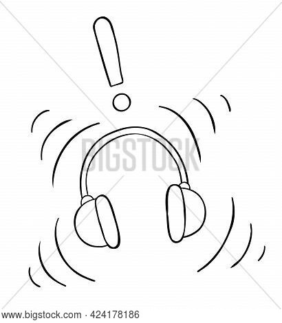 Cartoon Vector Illustration Of Headphones And Listening To Loud Music. Black Outlined And White Colo
