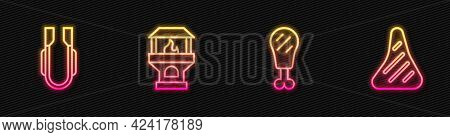 Set Line Chicken Leg, Meat Tongs, Brick Stove And Steak Meat. Glowing Neon Icon. Vector
