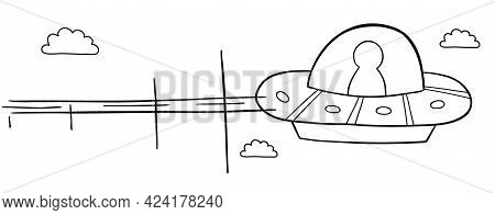Cartoon Vector Illustration Of Ufo Flying In The Sky. Black Outlined And White Colored.