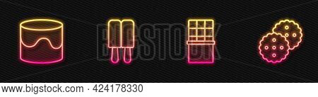 Set Line Chocolate Bar, Cake, Ice Cream And Cookie Or Biscuit. Glowing Neon Icon. Vector
