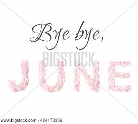 Bye Bye June On White Background. Letters Lined With Fresh Petals Peony Of The Pink Color. Creative