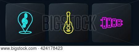 Set Line Treble Clef, Xylophone And Guitar. Black Square Button. Vector