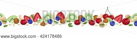 Seamless Berry Border. Vector Horizontal Border With Berries And Nuts Pattern Isolated On White.
