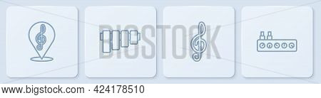 Set Line Treble Clef, , Pan Flute And Sound Mixer Controller. White Square Button. Vector