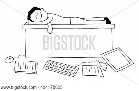 Cartoon Man Threw The Computer And Papers On The Floor And Is Sleeping On The Desk, Vector Illustrat