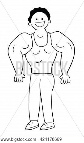 Cartoon Man Muscular And Showing Off His Muscles, Vector Illustration. Black Outlined And White Colo