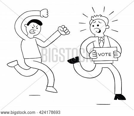 Cartoon Angry Man Chasing Politicians Who Want Votes, Vector Illustration. Black Outlined And White