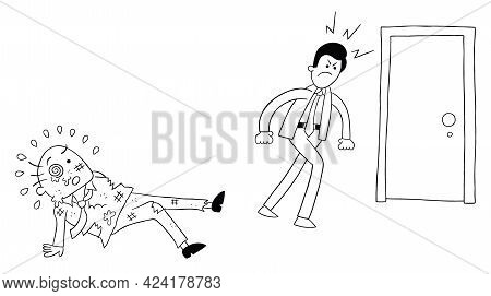 Cartoon Angry Employee Man Beat The Boss And Leaves, Vector Illustration. Black Outlined And White C