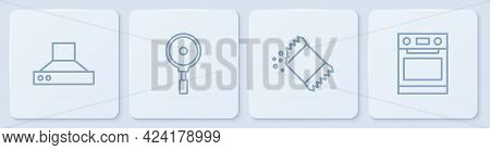 Set Line Kitchen Extractor Fan, Packet Of Pepper, Frying Pan And Oven. White Square Button. Vector