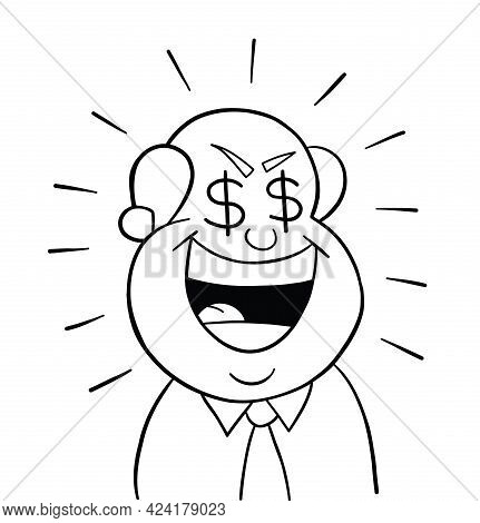 Cartoon Boss Man Greedy, Vector Illustration. Black Outlined And White Colored.