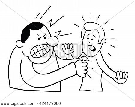 Cartoon Angry Man Grabs Man's Collar, Vector Illustration. Black Outlined And White Colored.