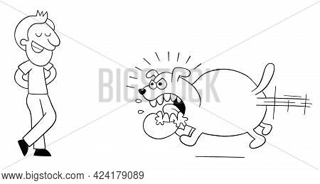 Cartoon Angry And Huge Dog Runs To Bite The Man, But The Man Is Not Afraid, Vector Illustration. Bla
