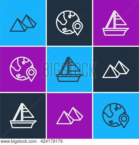 Set Line Egypt Pyramids, Yacht Sailboat And Location On The Globe Icon. Vector