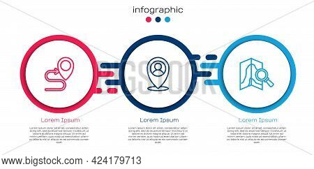 Set Line Route Location, Location With Person And Search. Business Infographic Template. Vector
