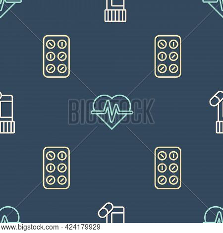 Set Line Medicine Bottle And Pills, Pills Blister Pack And Heart Rate On Seamless Pattern. Vector