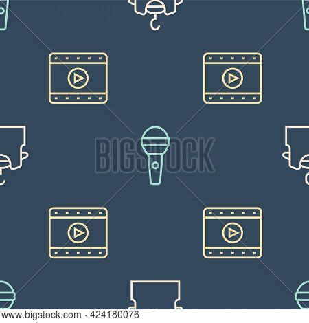 Set Line Sleeveless T-shirt, Play Video And Microphone On Seamless Pattern. Vector
