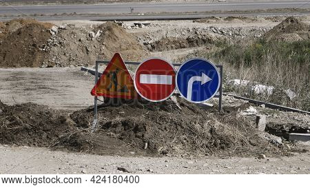 Roadworks Sign. (information Signs). Do Not Enter (prohibitory Signs). Turn Right (mandatory Signs).