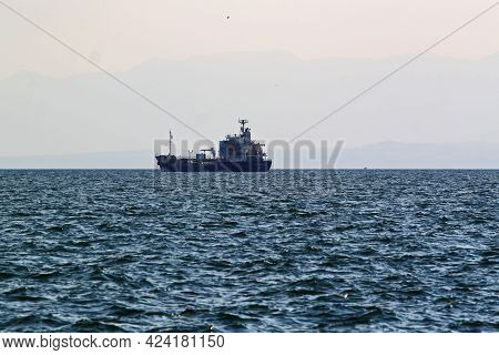 Thessaloniki, Greece - August 09, 2015:view Of Cargo Ship For Import - Export And Logistics Of Inter