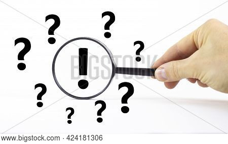 Exclamation And Question Marks Symbol. Magnifying Glass With Exclamation Mark Symbol. Concept Creati