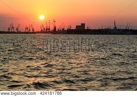 Thessaloniki, Greece - August 09, 2015: Panoramic View Cargo Ships Port In The Export And Import Bus