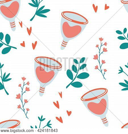 Seamless Pattern With Menstrual Cup. Zero Waste Periods Floral Background. Female Hygiene Products.