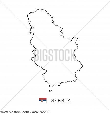 Serbia Map Line, Linear Thin Vector Simple Outline E And Flag. Black On White Background