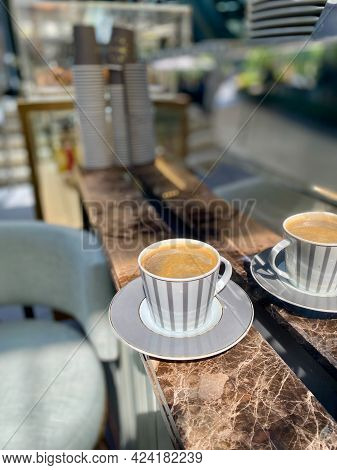 Cafe Americano Served At Coffee Bar . Ready To Drink And Serve.