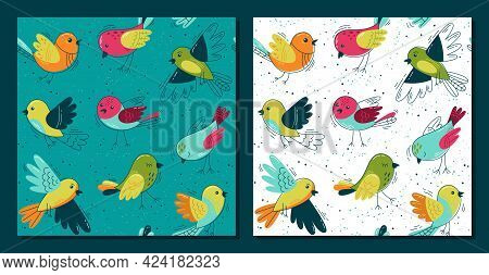 Flock Of Funny Birds  - Set Of Seamless Patterns. Vector Loop Pattern For Fabric, Textile, Posters,
