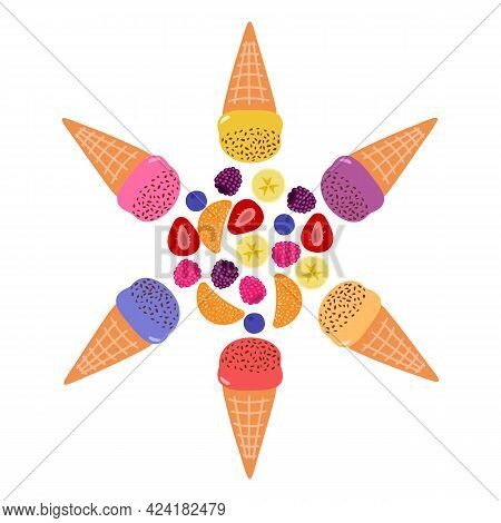 Vector Collection Of Colorful Ice Cream Of Different Flavors: Strawberry, Tangerine, Blueberry, Rasp
