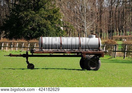 Slurry Trailer Stands On A Horse Meadow