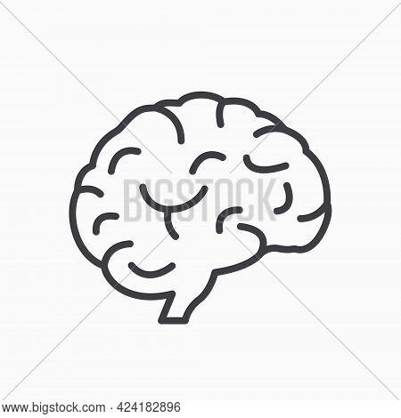 Human Brain Line Icon. Symbol Of Wisdom, Memory, Mind, Creative Idea And Intelligence. Brain In Flat