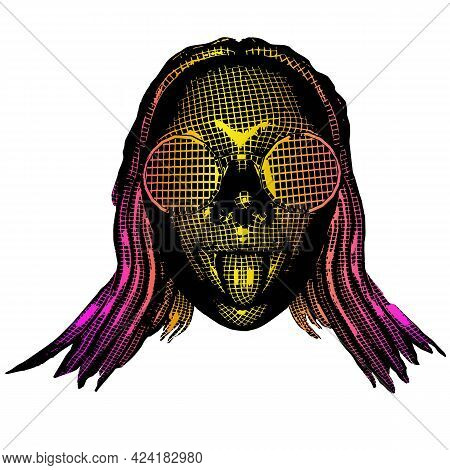 Sexy Emotion Girl In Glasses Open Mouth. Vector Colorful 3d Greed Background