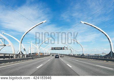 Highway Western Expressway Diameter On A Sunny Day - Saint Petersburg, Russia, June 2021