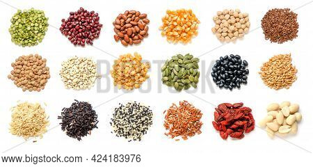 Collection Of Dry Organic Cereal And Grain Seed Pile Consisted Of Mung, Red And Black Bean, Corn, Pi