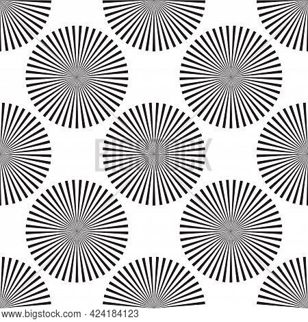 Screen Printing Seamless Pattern. Radiant Abstract Vortex. Circular Pattern. Pop Art Round Halftone.